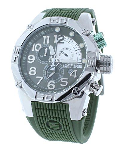 Technosport TS-560-4 Men's Green Watch 46mm Swiss Chronograph Green Silicone Strap