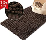 Vivaglory 3D Design Microfiber Litter Mat, 35½ x 23¾inch Large Cat Litter Trap Mat with Anti-slip and Waterproof Back, Super Soft and Absorbent, Machine Washable, Brown