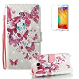 For Samsung Galaxy S7 Edge Case [with Free Screen Protector], Funyye Premium New 3D Folio PU Leather Wallet Magnetic Flip Cover with [Wrist Strap] and [Colorful Printing Painting] Stylish Book Style Full Body Protection Holster Case for Samsung Galaxy S7 Edge-Little Butterfly