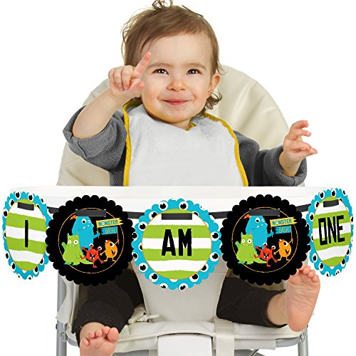 Monster Bash 1st Birthday - I Am One - Little Monster First Birthday High Chair Banner -