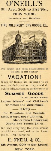 1891 Ad H O'Neill & Company 6th Avenue NYC Retail Store - Original Print Ad from PeriodPaper LLC-Collectible Original Print Archive