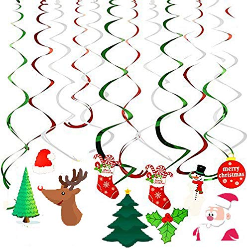 Ccfoud Christmas Hanging Swirl Decoration ( Leaves, Christmas Stockings, Snowmen, Christmas Hats, Christmas Cards,Christmas Trees), Foil & Paper ,30 pcs
