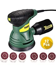 TECCPO Orbital Sander, 14000 RPM Random Orbital Sander, 350W, 12 Pcs Sand Papers, High Performance Dust Collector with Dust Collection Bag, Portable and Ideal for DIY - TARS22P