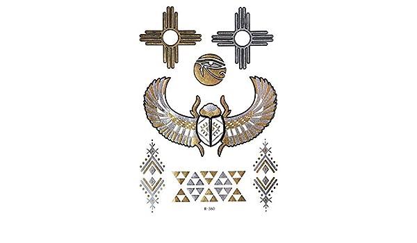 Metallic Flash Tatuajes Oro + Plata Egipto alas Ornamente Ojo de ...