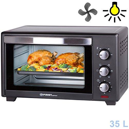 35 Liter, 1600 Watt Backofen mit Innenbeleuchtung und Umluft Mini Pizza-Ofen, Doppelglastür, Timer