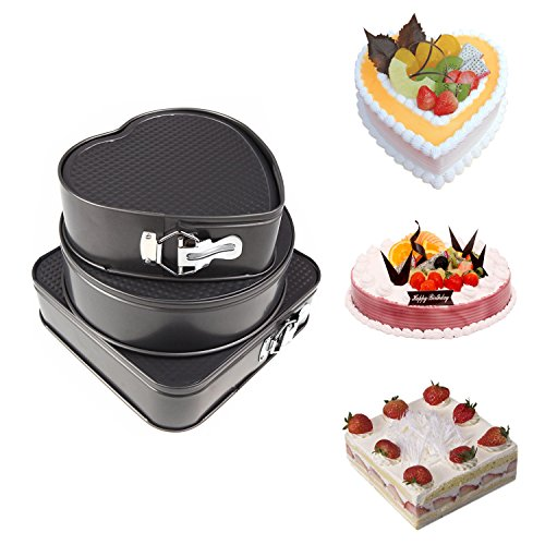Springform Pan, Yummy Sam Non-Stick Leakproof Cheesecake Pan Cake Molds Springform Cake Pans Square Heart-Shaped Round Cake Pans Bakeware Baking Pans by Yummy Sam