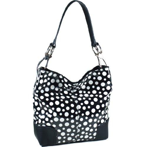 Dasein Glossy Polka Dot Hobo With Faux Leather Trim - Black/White (Hobo Dot Handbag Polka)