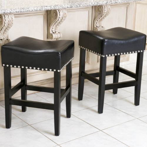 Best Selling Lennox Backless Leather Counter Stool, Black, Set of 2