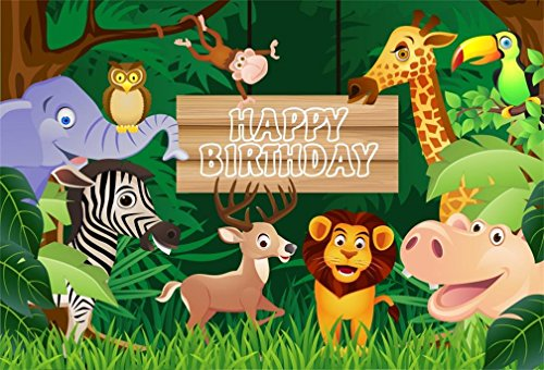 AOFOTO 5x3ft Cartoon Safari Animals Backdrop Happy Birthday Photography Background Jungle Fauna Wildlife Zoo Themed Party Decoration Photo Studio Props Girl Boy Children Kid Baby Portrait Wallpaper]()