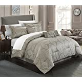 Chic Home 7 Piece Jessica Embossed Traditional Jacquard Motif Comforter Set, Queen, Grey