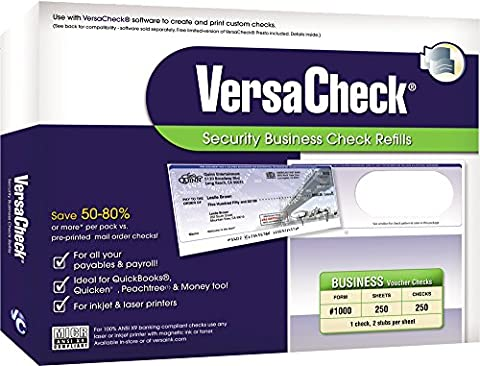 VersaCheck Security Business Check Refills, Business Standard, White Canvas, 250 Sheets (30WC01-01258-5)