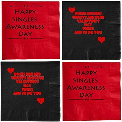 Valentines Day Funny Cocktail Napkins Anti Valentines Sarcastic and snarky Variety Pack 40 count set -