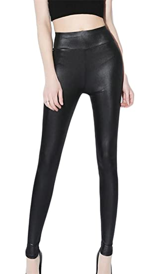 911468df74519 Pandapang Women's Stretch Plus Size Faux Leather Leggings High Rise Ankle  Length Leisure Pants at Amazon Women's Clothing store: