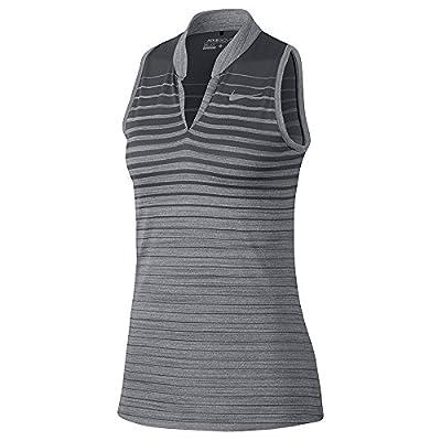 NIKE Zonal Cooling FA Print Sleeveless Golf Polo 2017 Women Dark Gray/Flat Silver (M)