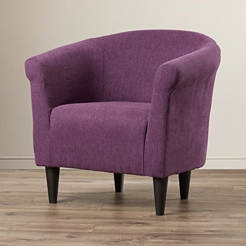 Modern Barrel Chair - Chic Contemporary Accent Furniture - Living Room Bedroom Seat for Home (Eggplant)