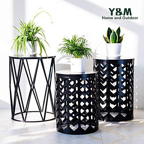 PAO MOTORING Home Garden Accents Wire Round Iron Metal Stool Side End Table Plant Stand,Set of Three (Black) (Garden Table Small Black)