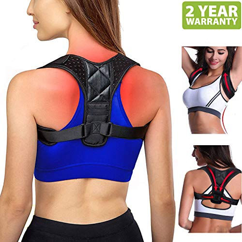 TDH Posture Corrector Women Men- Back Clavicle Support Brace Neck Pain Relief Upper Shoulder Posture Corrector Women Under Clothes Bra Posture Strap Back Support Muscle Pain Reliever Kyphosis Brace