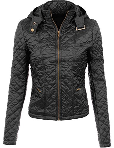 BEKTOMEWomens Detachable Hooded Quilted Puffer