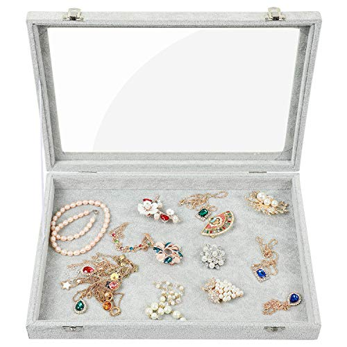 (Stylifing Clear Lid Ice Velvet Multifunction Jewelry Tray Showcase Display Organizer Rings Earrings Necklaces Bracelet Watch Vintage Buttons Box for)