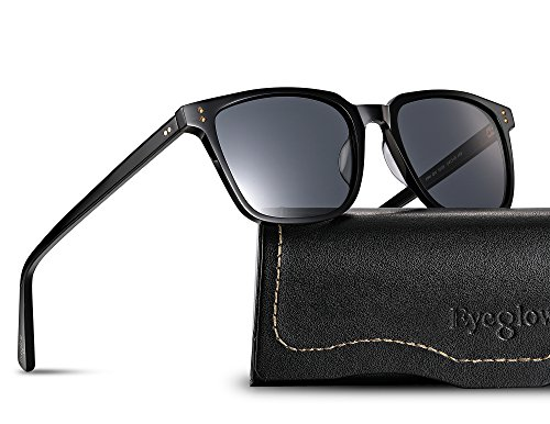 EyeGlow Vintage Square Designer Sunglasses Men and Women Polarized Lens S6801 (Black vs Grey lens, Polarized lens as - Uv Vs Sunglasses Polarized Protection