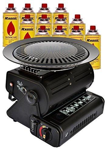 Calefacción de gas Cerámica Radiador de gas 1,3 kW Calefactor camping con barbacoa +