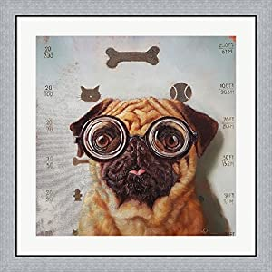 Canine Eye Exam by Lucia Heffernan Framed Art Print Wall Picture, Flat Silver Frame, 32 x 32 inches