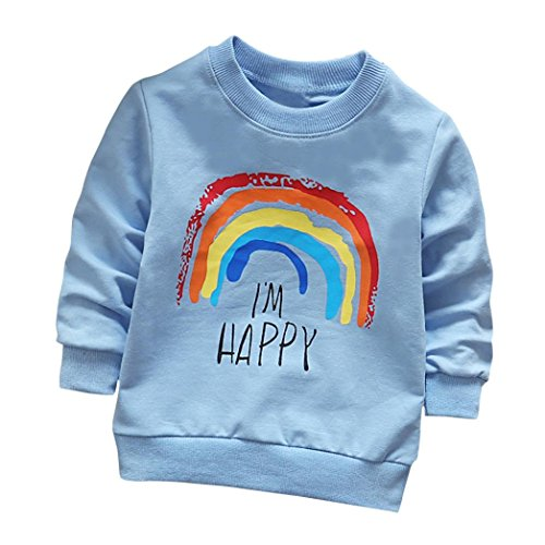 Fineser Toddler Baby Girls Boys Long Sleeve Rainbow Print Cotton Soft Pullover T-Shirt Tops Clothes (Blue, 3T)