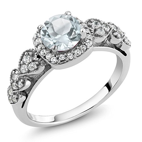 Sky Blue Aquamarine 925 Sterling Silver Women's Ring 1.07 Cttw Round (Size 8) by Gem Stone King