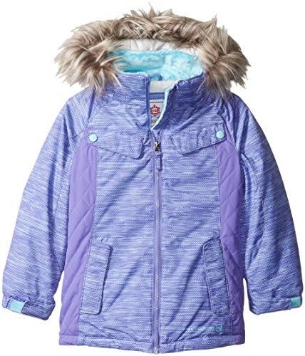 Free Country Little Girls' Heavy Weight Boarder Jacket with Removable Faux Fur Trimmed Hood, Ultra Violet, L(6X)