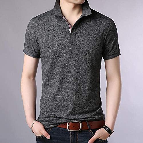 Solid Colored Print Shirt Collar Blue XL YFLTP Mens Polo