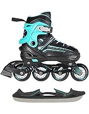 2-in-1 inlineskates/schaatsen Nils Extreme Lucky zwart/blauw ABEC7 maat 29-33 34-38 39-43 verstelbaar