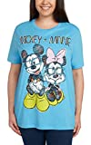 Disney Women's Plus Size T-Shirt Mickey & Minnie Mouse Glasses Glitter Print Blue