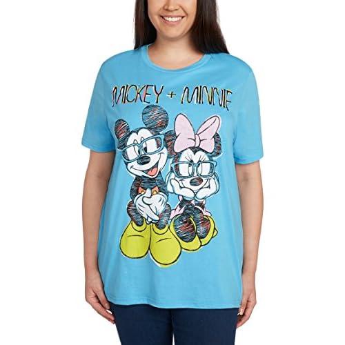 Cheap Disney Women\'s Plus Size T-Shirt Mickey & Minnie Mouse Glasses Glitter Print Blue hot sale 655urU1h