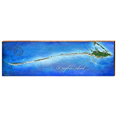 """This beautiful Dauphin Island, Alabama Map comes to life on this art piece made from 3/4"""" weathered pine. The rustic wood canvas adds to the uniqueness of this piece. Brighten your living room, den or bedroom or hang it under a covered porch...."""
