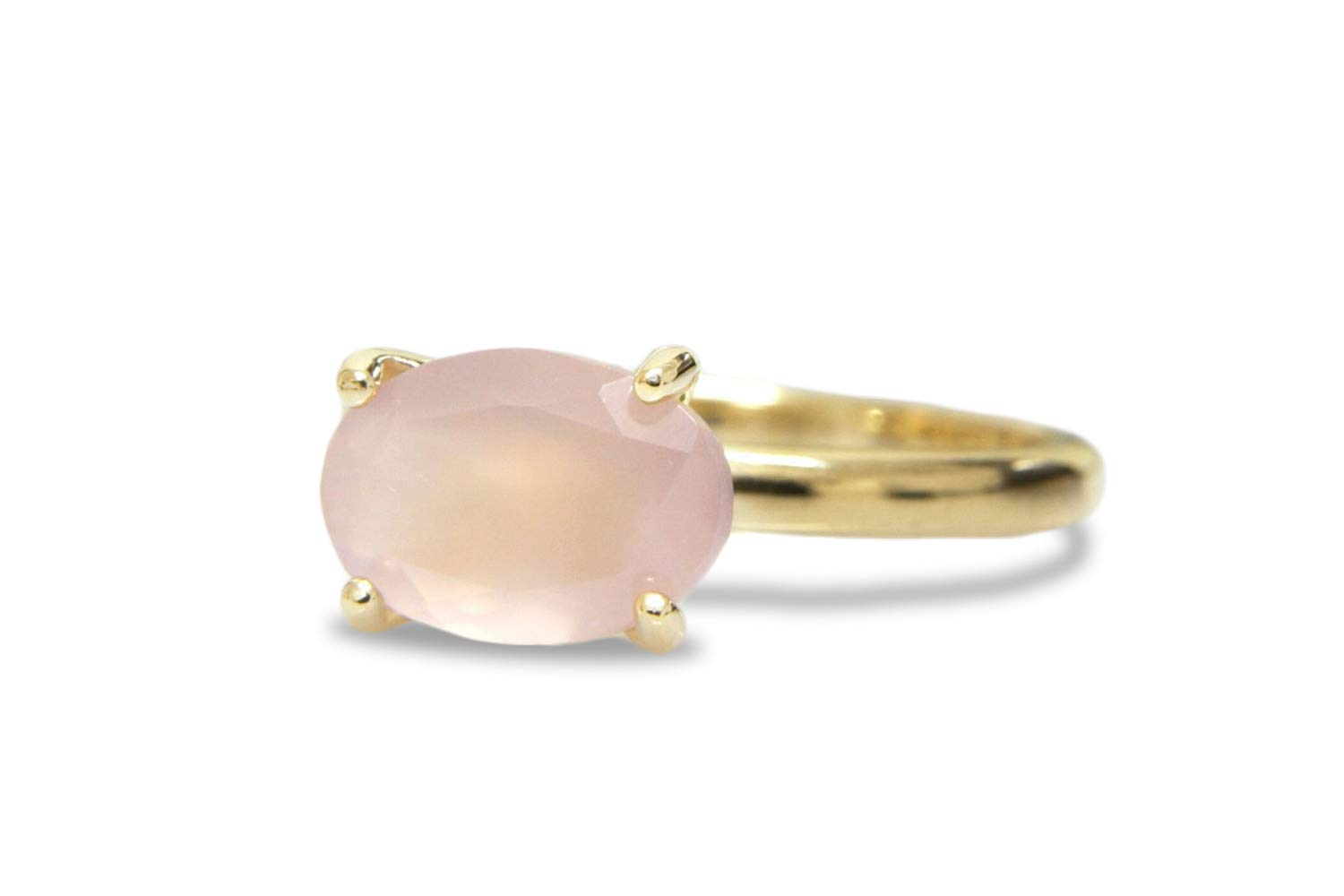 Handmade Jewelry with Box Promise Ring Solitaire Engagement Ring Anemone Unique Oval Rings for Women Birthstone Rings Rose Quartz in 14k Rose Gold
