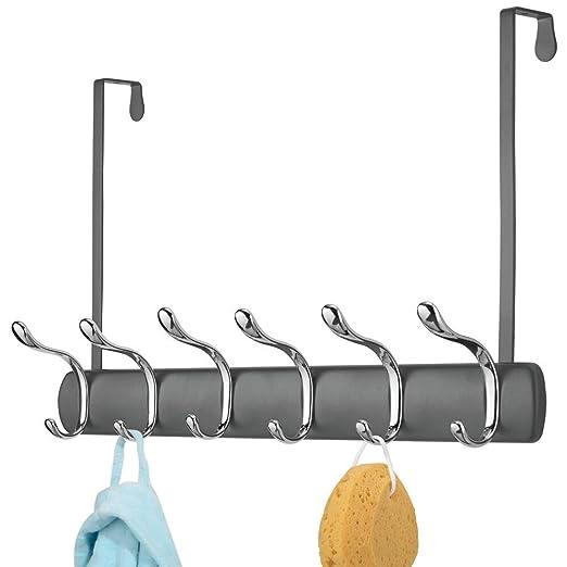 mDesign Práctico perchero con ganchos – Perchero de puerta con 12 ganchos para la cocina, el pasillo o el baño – Perchero metálico moderno para colgar ...
