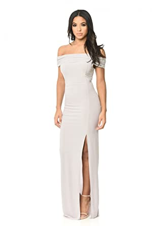 056ab52ed13c AX Paris Women's Off The Shoulder Slinky Maxi Dress at Amazon ...