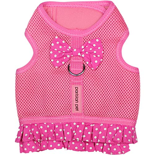 (Parisian Pet Dog Harness Dress, Pink Dots, XS)