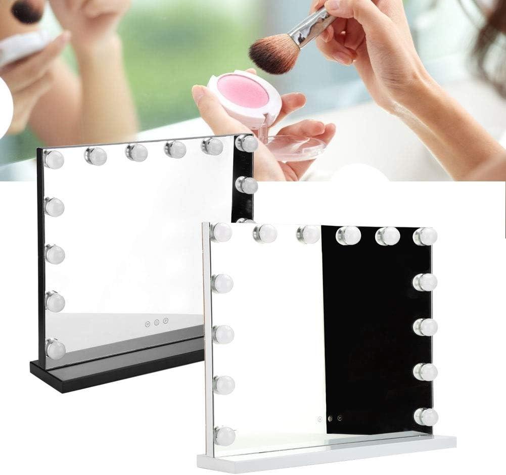 テーブルミラー、14LEDドレッシングの洗面化粧台は浴室のための化粧品のDimmableの球根100-240Vをつけました(US Plug-白)