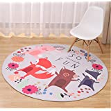 Garwarm Creative Contracted fashion Round Cartoon Modern Soft Coral Velvet Non-Slip Easy-Clean Area Rugs Floor Carpet Mats Pad for Kids Room Living Room Kitchen Bedroom Home Decoration with 2 Size