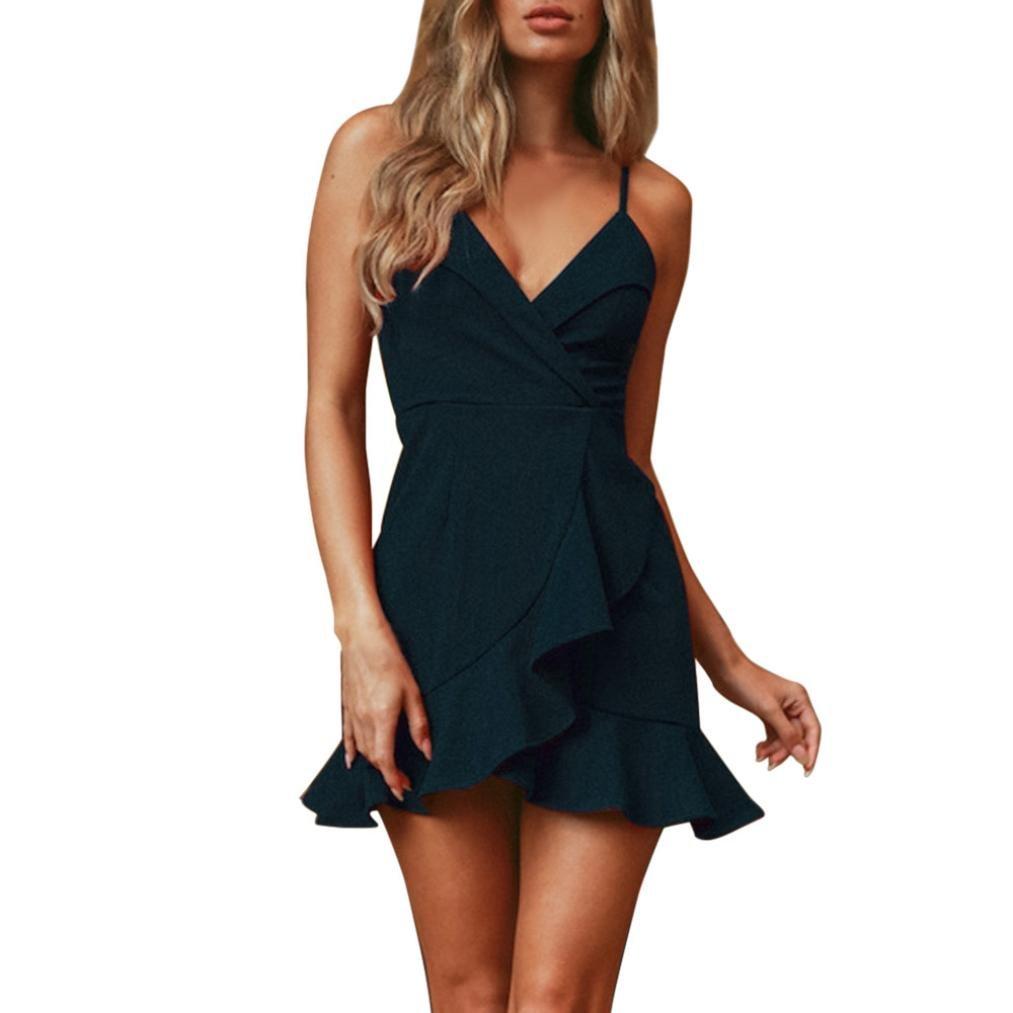 VIASA Fashion Women's Evening Party Dress Beach Summer Pure Sheath Slip Evening Dress Mini Dress (S, Green)