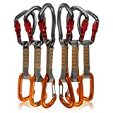 Fusion Climb 6-Pack 11cm Quickdraw Set with Techno Wave Burgundy Screw Gate Carabiner/Contigua Orange Wire Gate Carabiner