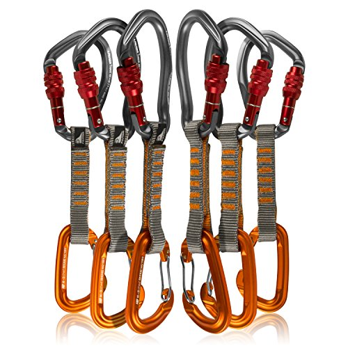 Fusion Climb 6-Pack 11cm Quickdraw Set with Techno Wave Burgundy Screw Gate Carabiner/Contigua Orange Wire Gate Carabiner by Fusion Climb