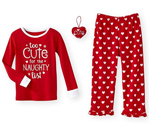 Naughty 3 Piece - Too Cute For The Naughty List Christmas 3 Piece Baby Toddler Girls Pajamas Set (3T)