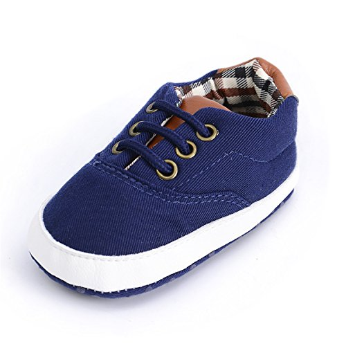 Baby Girls Boys Canvas Shoes Soft Sole Toddler First Walker Infant High-Top Ankle Sneakers Newborn Prewalker Crib Shoes (12-18 Months M US Toddler, 2.Dark Blue) ()