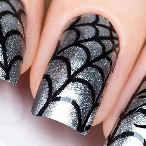 Halloween Spider Web Stencil (Whats Up Nails - Spider Web Vinyl Stencils for Halloween Nail Art Design (1 Sheet, 12)