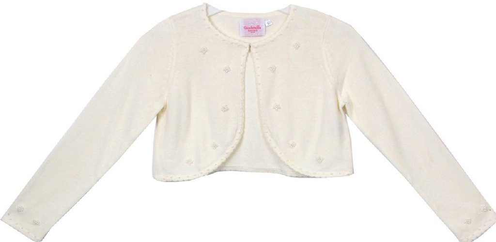 BNY Corner Flower Girl Sweater with Pearl Embellishments for Big Girl Ivory XL CC3010