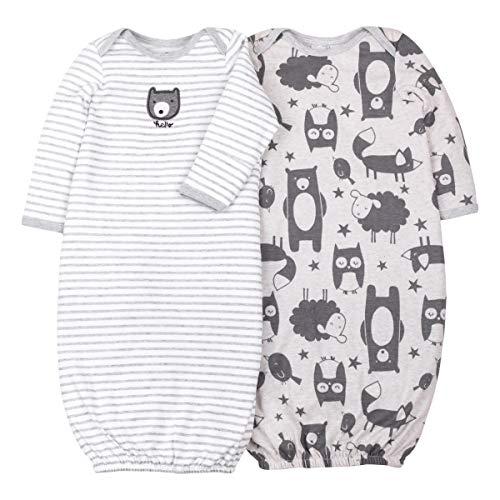 LAMAZE Organic Baby Girl, Boy, Unisex Gowns, Gray Bear, 0-3M ()