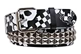 Search : Snap On Art work Skull Cross Bone Tattoo Print Punk Rock Studded Leather Belt