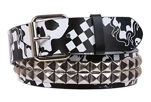 - Snap On Art work Skull Cross Bone Tattoo Print Punk Rock Silver Star Studded Leather Belt, White/Black | S/M - 32